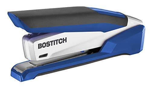 Bostitch InPower Spring-Powered Premium Desktop Stapler - One Finger, No Effort, Blue/Silver (1118)