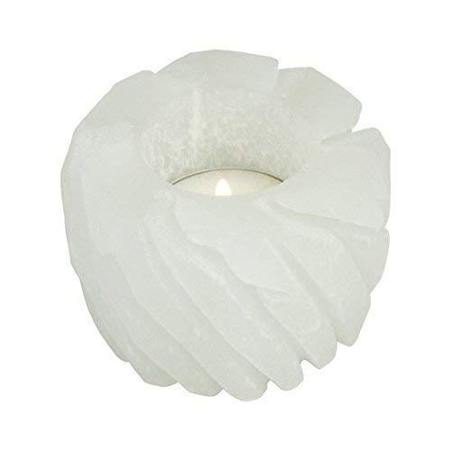 Selenite portalume candela 'Divino Lotus' design 7cm te chiaro curativo regalo cristallo