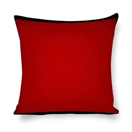 DKE&YMQ Funda de almohada de algodón y cáñamo, color rojo carmín rectángulo granate