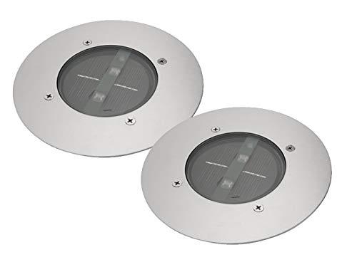 2er SET moderner Solar LED Bodeneinbaustrahler rund in Edelstahl / Glas für Außen