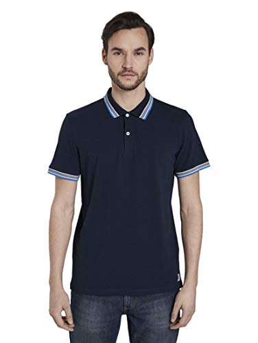 TOM TAILOR Herren Poloshirts Poloshirt mit Kontrastblende Black Iris Blue,XL