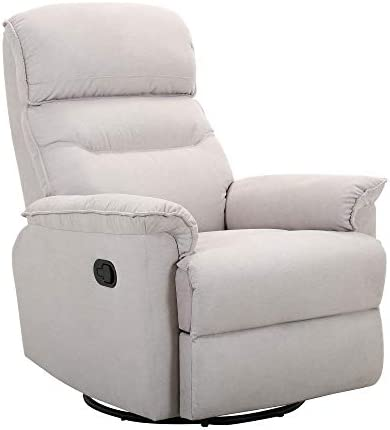 Best Amazon Brand – Ravenna Home Pull Recliner with Rotating 360 Swivel Glider, Living Room Chair, Fabr