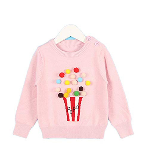 New Spring Children's Clothing 1-5Yrs Children's Sweater Triangle Symbol Kids Pullover Pink 5T