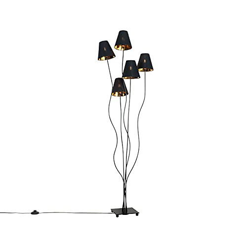 QAZQA Moderno Design vloerlamp zwart met goud 5-lichts - Melis Acero/Textil Alargada Adecuado para LED Max. 5 x 40 Watt