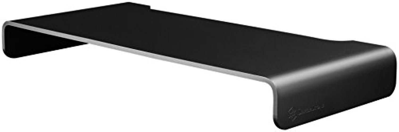 SilberStone SST-MR01B - Ergonomischer Aluminium Monitor-Erhhung für Computer-Monitore bis max. 27  oder 10 kg, schwarz