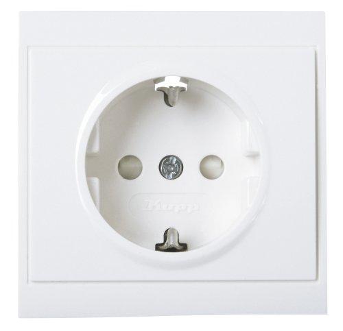 Kopp 923413082 Malta Schutzkontakt-Steckdose mit erhöhtem Berührungsschutz, 250 V, arktis-weiß, 1-Fach