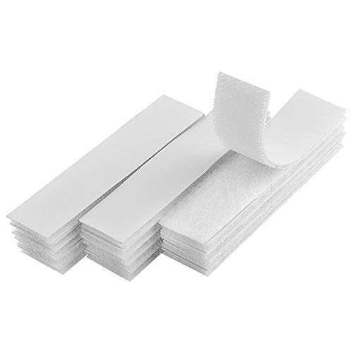 Melsan 1x4 inch Self Adhesive Hook and Loop Strips - 15 Sets - White Sticky Back Tape Fastener, Heavy Duty Mounting Strips for Home or Office Use - Instead of Holes and Screws