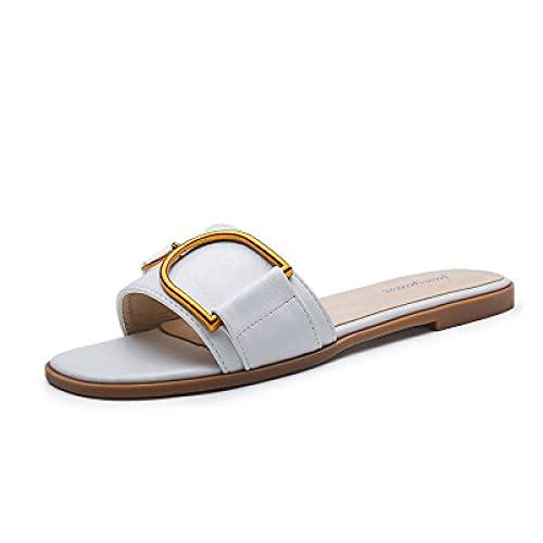 Zapatillas Casa Chanclas Sandalias Zapatillas Cuadradas para Mujer Chanclas Sandalias De Playa Zapatillas De Moda-White_41