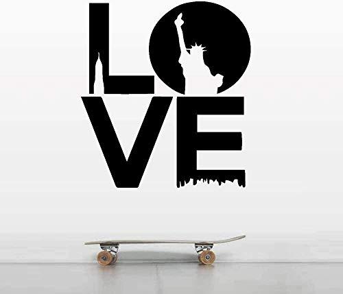 Etiqueta de la pared PVC extraíble etiqueta de la pared amor Nueva York pegatina niño pegatina dormitorio sala de estar pegatina 55x51cm