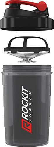 Rockitz Premium Protein Shaker 500ml - erstklassige Mischfunktion mit Infusion Sieb - für super cremige Fitness Eiweiß Shakes, Proteinshake Becher,Schwarz | Rot