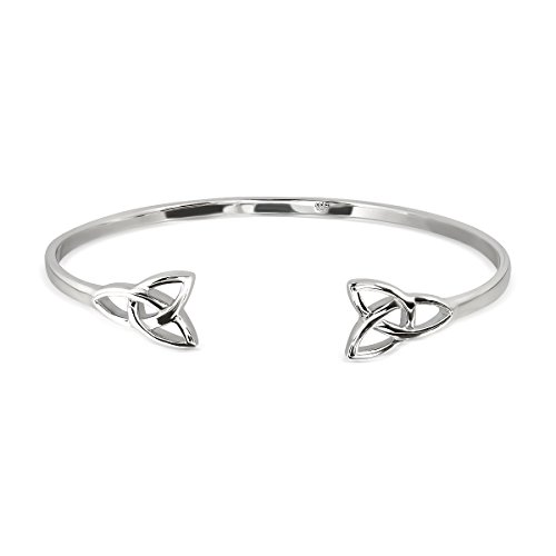 WithLoveSilver 925 Sterling Silver 2 Triquetra Celtic Trinity knots Bangle Bracelet
