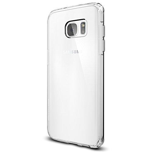 Spigen Coque Compatible avec Galaxy S7 Edge [Ultra Hybrid] AIR Cushion [Crystal Clear] Clear Back Panel + TPU Bumper, Coque Galaxy S7 Edge