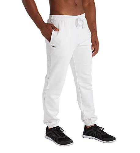 Lacoste - Pantalón de forro polar para hombre, Blanco, Small
