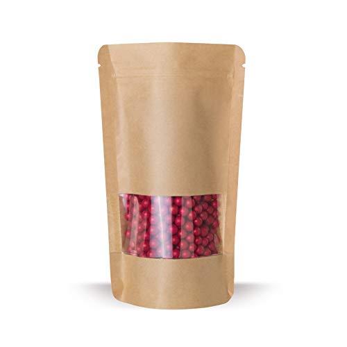 Elke-Plastic Standbodenbeutel Kraftpapier mit Sichtfenster I 85 x 140 I 100 Stk. I wiederverschließbare Beutel I Aromaschutzverpackung I Druckverschlussbeutel I Schnellverschlussbeutel I Stehbeutel