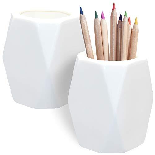 2 Pack Ceramic Pencil Holder,White Geometric Pen Cup Makeup Brush Holder for Girls Women,Desk...