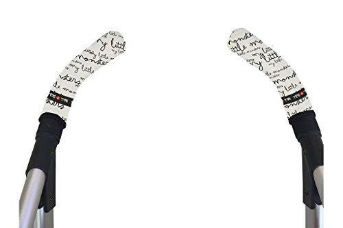Tris&Ton Fundas empuñaduras verticales Modelo Monster, empuñadura funda para silla de paseo cochecito carrito carro (Tris y Ton) (White)