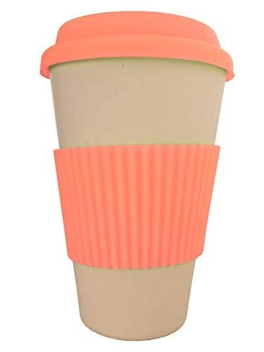 OLPRO Outdoor Leisure Products Reusable Bamboo Husk Fibre Coffee Cup Travel Mug Silicone Sleeve Plastic Free Fully Biodegradable Husk Breaktime Beaker Mug Orange