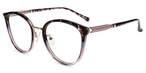 Firmoo Anti Blaulicht Brille ohne Sehstärke Damen Entspiegelt, Panto Computerbrille für Bildschirme Herren, Retro Nerdbrille ohne Stärke Blendfrei Runde Blaufilter Gläser Brille 129mm, Bunt