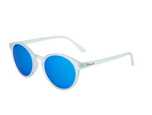 Mawaii Just Smile Lifestyle polarisierte Sonnenbrille für Damen und Herren, transparenter Rahmen mit eisblauen Gläsern