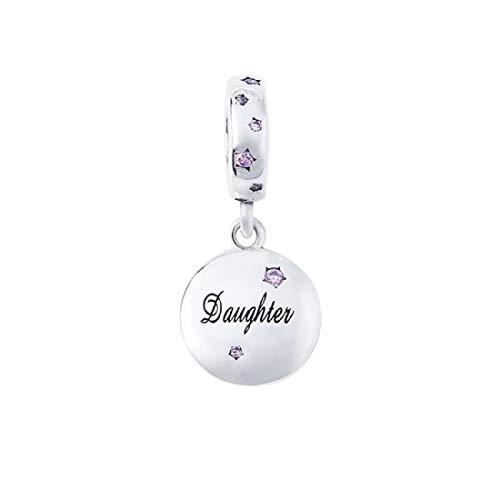 FeatherWish Family And Friends Round Disc Dangle Charms Engraved With 925 Sterling Silver And Cubic Zirconia Cubic Zirconia - Compatible With Pandora Bracelet (Daughter)