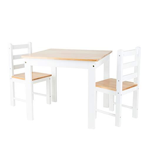 Bieco Kindersitzgruppe aus Kiefer Holz | 3er Set Tisch & Stühle | Sitzgruppe Kinder | Kindertisch mit Stühle | Spieltisch Baby | Kindersitzgruppe Holz | Safety 1st | Kinderstuhl und Tisch | Sitzhocker
