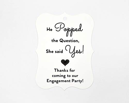 24ct Black and White Engagement Party Tags, Favor Hang Tags (EC-081-BW)