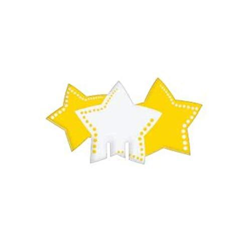 Dream' s Party 20 SEGNAPOSTO da Bicchiere in Carta a Forma di Stelle Bianche e Gialle - addobbo Decoro tavola Natalizia - Ideale per Feste, Natale, Capodanno