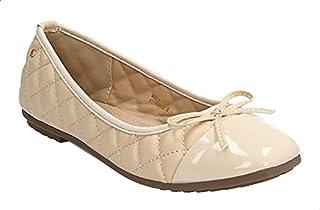 حذاء باليرينا جلد صناعي مزين بخياطة وفيونكة امامية للنساء من ديجافو