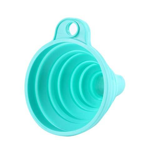 Yingyang Embudo de cocina mini embudo plegable de silicona embudo plegable resistente al calor agua líquido líquido accesorio de cocina (color: azul)