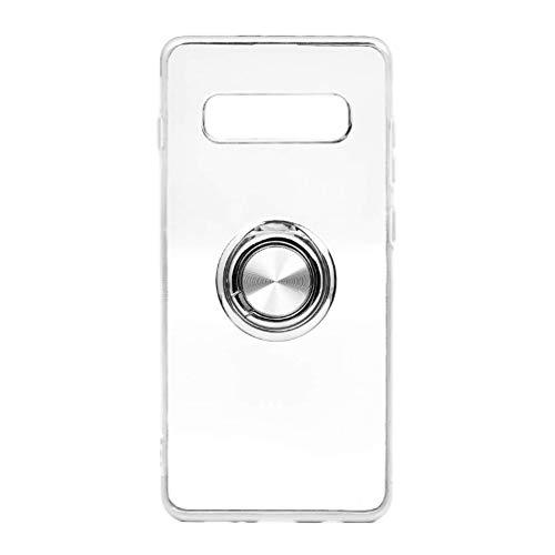 Funda para Samsun Galaxy S10 Plus Teléfono Móvil Silicona Bumper Case Funda con Anillo Giratorio de 360 Grados Rotaria Ring Holder Protectora Caso (Transparente + Plata, Samsung Galaxy S10 Plus)