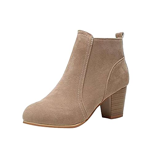 New Womens Sexy Fashion High Heel Shoes Thick Heel Boots Square Toe Side Zipper Ankle Booties No-Slip Personality All-Match Short Boots Casual Comfortable Women Working Boots