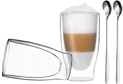 DUOS 2X 400ml doppelwandige Gläser + 2 Löffel - Set Thermogläser mit Schwebe-Effekt, auch für Latte Macchiato, Eistee, Säfte, Longdrinks, Cocktails geeignet, by Feelino