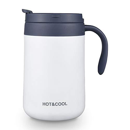 マグカップ 保温 カフェマグ コーヒーカップ 真空断熱マグ タンブラー 保温抜群 二重構造 ステンレスマグ 携帯マグ 水筒 保冷 耐熱 蓋付き 直接ドリップ ブラック (ホワイト 500 ML)