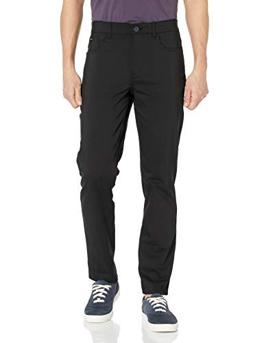 Calvin Klein Men's Move 365 Stretch Slim Fit Wrinkle Resistant Tech Woven Pant, Black, 34x30
