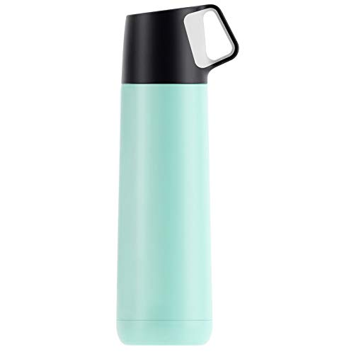 Water Bottle Insulated Stainless Steel Reusable Thermos Water Bottle 500Ml/17Oz Sports Keeps Hot and Cold Leakproof Lids Non-Slip,Green
