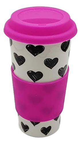 Upper Drawer 16 oz Ceramic Double Wall Insulated Travel Mug with 100% Silicone Lid (Hearts with Pink Lid)