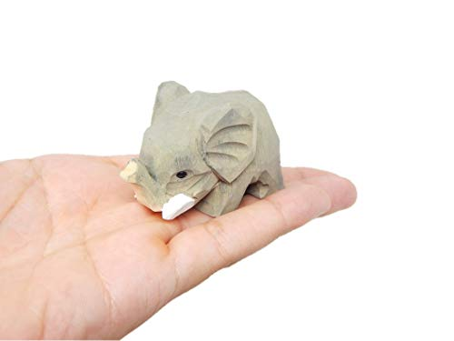 Small 2  Wooden Elephant Figure - Carving  Hand-Made  Decoration  Miniature Animals