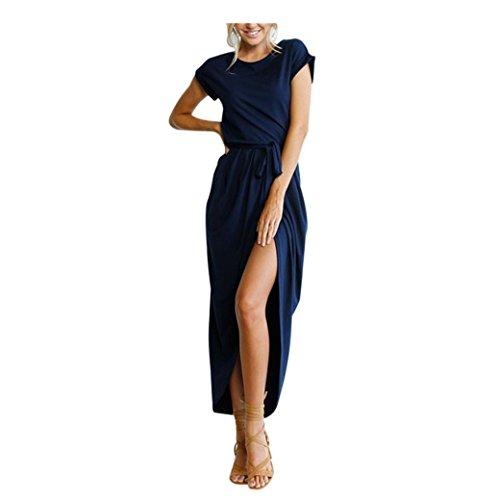 Bekleidung Longra Damen Sommerkleid Boho Lange Maxi Kleid Abend Party Strand Kleider Sundress (S/36, Navy)