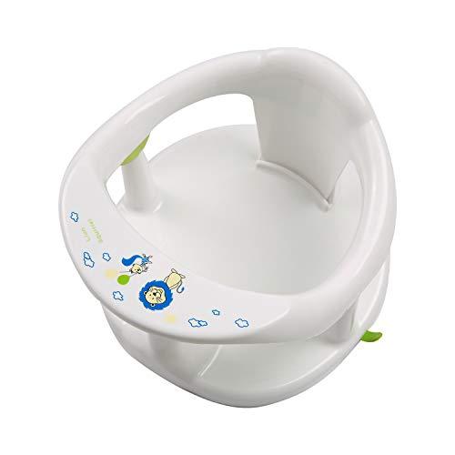 Xiaoqiao Asiento de baño para bebés de 6 a 18 meses, silla de baño antideslizante para bañera, sillas de ducha de bebé de forma linda para sentarse (blanco, 32,5 x 32,5 x 21,5 cm)