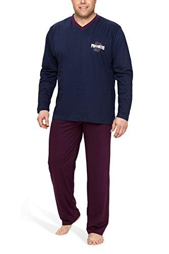 Moonline Plus Schlafanzug Herren lang übergroß aus Baumwolle, Farbe:Navy, Größe:4XL