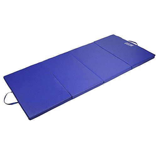 CCLIFE Colchoneta Plegable de Gimnasia Mat Colchoneta Yoga Colchoneta Deportiva Yoga estrilla 4 Pliegues 200/100/5 cm, Color:Azul