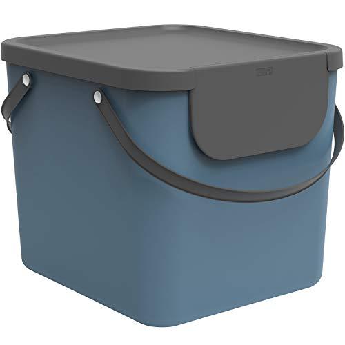 Rotho Albula Mülltrennungssystem 40l für die Küche, Kunststoff (PP) BPA-frei, blau/anthrazit, 40l (40.0 x 35.8 x 34.0 cm)