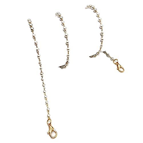 Lanyards Cordón de sujeción y correa de cadena para el cuello, cadena de cadena de cadena de collar retenedor ajustable para colgar la oreja cuerda con dos ganchos