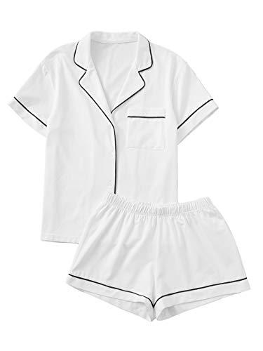 Floerns Women's Notch Collar Short Sleeve Sleepwear Two Piece Pajama Set A White L