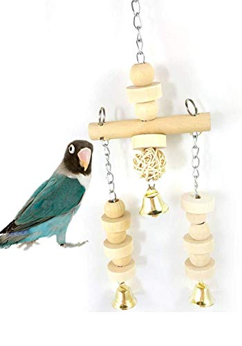 Bird Chew Toy Parrot Wooden Hanging Perch Stand Bite Toy with Bells for Small Parakeets Budgie Cockatiel Conure Exercise Training Balance Cage Accessories