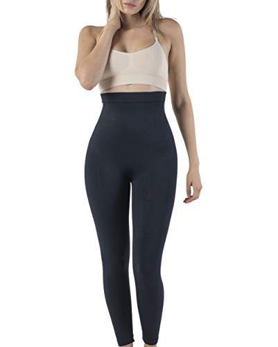 UnsichtBra Shapewear Damen Bauchweg Leggings | Figurformende Body Shaper Kompressionsleggins | Bauch Weg Shaping Leggins Hose Schwarz (sw_2400)(M (40-46),Schwarz)