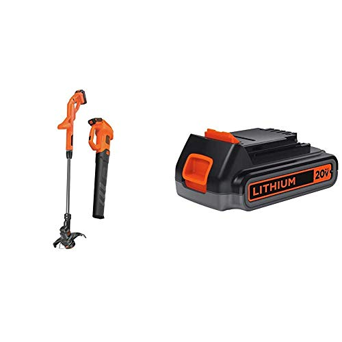 BLACK+DECKER 20V MAX Leaf Blower and String Trimmer Combo Kit with Extra Lithium Battery 2.0 Amp Hour (BCK279D2 & LBXR2020-OPE)