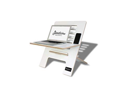 Standsome Slim White – Höhenverstellbarer Schreibtischaufsatz, ergonomisches Stehpult, nachhaltiger Sitz Steh Arbeitsplatz, Laptopständer aus Holz weiß