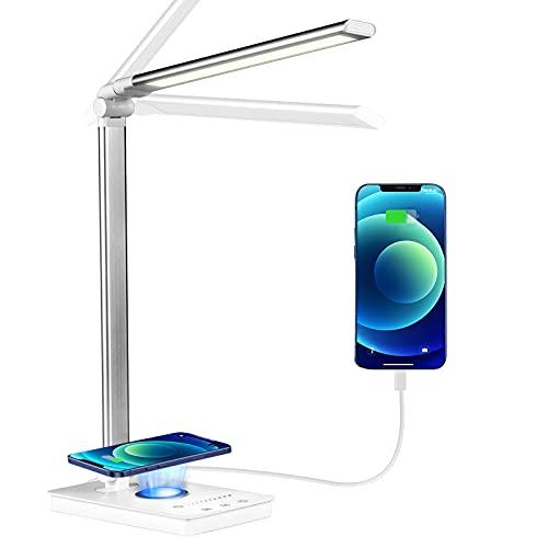 Schreibtischlampe LED Dimmbar mit Ladefunktion, AZ GOGO Augenschutz Nachttischlampe Touch Dimmbar Tischlampe,5 Farben & 10 Helligkeitsstufen,Metall Leselicht Tischleuchte für Kinder Büro,inkl.Adapter