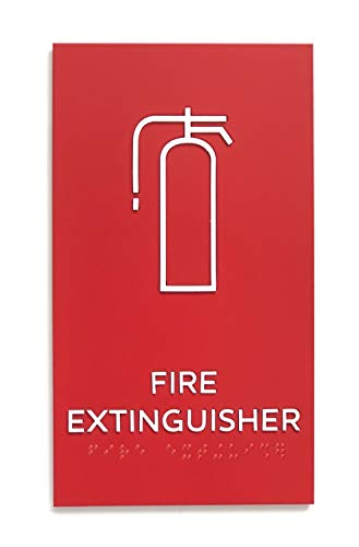 Kubik Letters Fire Extinguisher Sign, ADA Compliant Modern Design Sign with Grade 2 Braille for Fire Extinguisher Location with 3M Double Sided Tape